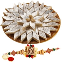 Remarkable Present of Ethnic Rakhi and 250 gr. of Kaju Katli with Roli N Tilak on the Occasion of Raksha Bandhan