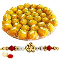 Delightful Display of 1 Ethnic Rakhi and Delicious Boondi Ladoo (250 gr.) with Roli N Tilak for Raksha Bandhan Celebration