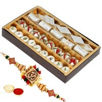 Exclusive Rakhi Gift of One Ethnic Rakhi and 250 gr. of Assorted Sweets with Roli N Tilak for your Brother