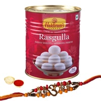 Stylish Rakhi with Haldirams Rasgulla Pack and free Roli Tikka for your Loving Brother