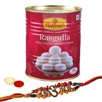 Stylish Rakhi with Haldirams Rasgulla Pack and free Roli Tikka for your Loving Brother