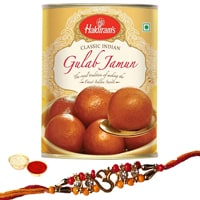 Remarkable Display of Designer Rakhi and Haldirams Gulab Jamun Pack with free Roli Tikka for Special Rakhi Festival<br>