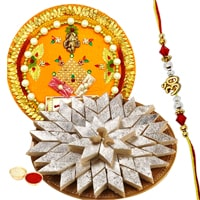 Smart-Looking Rakhi Thali Gift Set with Fancy Rakhi and Kaju Katli with free Roli Tikka for your Loving Brother