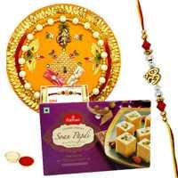 Remarkable Gift of Rakhi Thali with Designer Rakhi and Haldirams Soan Papri With free Roli Tikka for your Caring Brother