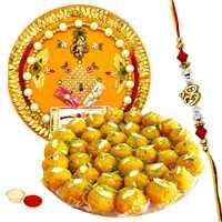 Marvelous Gift Pack of Rakhi Thali with Fancy Rakhi and Delicious Boondi Ladoo along with Free Roli Tikka