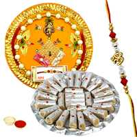 Classic Rakhi Thali with Designer Ethnic Rakhi and Kaju Pista Roll for Your Dear Brother with Free Roli Tikka