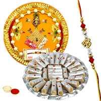 Classic Rakhi Thali with Designer Ethnic Rakhi and Kaju Pista Roll for Your Dear Brother with Free Roli Tikka