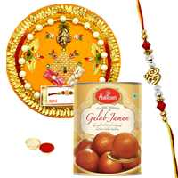Impressive Rakhi Thali with Designer Rakhi and Haldirams Gulab Jamun along with Free Roli Tikka for your Caring Brother