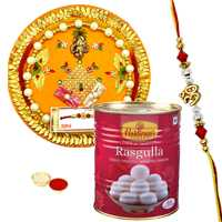 Attractive Rakhi Thali with Fancy Rakhi and Haldirams Rasgulla Pack along with Free Roli Tilak <br>