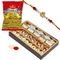 Delectable Assorted Sweets, Haldirams Bhujia and Ethnic Rakhi with Free Roli Tikka for your Younger Brother<br>