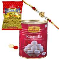 Charismatic Display of Ethnic Rakhi with Haldirams Rasgulla Pack n Haldirams Bhujia for your Beloved Brother with Free Roli Tikka