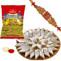 Charming Gift of Fancy Rakhi with Sweet Kaju Katli n Haldirams Bhujia with Free Roli Tikka <br>
