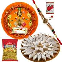 Charismatic Gift Pack of Rakhi Thali, Sweet Kaju Katli and Haldirams Bhujia with Ethnic Rakhi and Free Roli Tikka