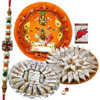 Scintillating Selection of Rakhi Thali with Designer Rakhi, Delicious Kaju Roll n Kaju Katli with Free Roli Tikka filled with Happiness <br>