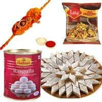Exclusive Raksha Bandhan Special Sweet n Salty Gift Hamper with Rakhi and Free Roli Tikka for your Loving Brother<br><br>