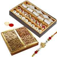 Stunning Selection of Rakhi Hamper with Mixed Sweets n Dry Fruits and 1 Om/Ganesh Rakhi along with Free Roli Tikka
