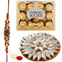 Wonderful Rakhi Special Present of Kaju Katli, Ferrero Rocher Chocolates and Om / Ganesh Rakhi with Roli Tikka