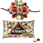 Stylish Rakhi and Popular Hersheys Kisses Chocolate with Free Roli Tikka for Rakhi Celebration