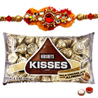 Beautifying Decorative Rakhi and Hersheys Kisses Chocolate with free Roli Tikka for Sacred Raksha Bandhan Celebration<br>