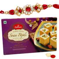 Traditional Rakhi Gift Pack of Creative Rakhi with Haldirams Soan Papri and Free Roli Tikka