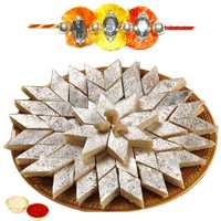 Appealing Arrangement of One Jeweled Rakhi N Tasty Kaju Katli with Roli and Tilak for Rakhi Celebration