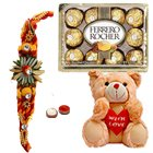 Ecstatic Collection of 8 Inch Teddy Bear, Ferrero Rocher Chocolate Pack N 1 Kids Rakhi with Roli and Tilak on Raksha Bandhan