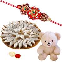 Exquisite Gift of Kaju Katli and 8 Inch Teddy Bear with 1 Kids Rakhi, Roli and Tilak for your Loving Brother on Rakhi