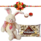 Magnificent Collection of Hersheys Kisses Chocolates N 8 Inch Bunny with 1 Kids Rakhi, Roli N Tilak on Raksha Bandhan