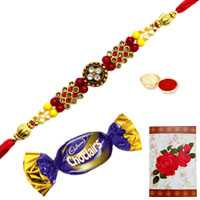 Charming Selection of One Jeweled Rakhi N One Chocolate with Roli and Tilak for Raksha Bandhan Celebration