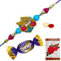 Ecstatic Gift of One Zardozi Rakhi N Chocolates with Roli and Tilak for your Loving Brother on Rakhi