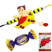 Exquisite Arrangement of One Kids Rakhi N One Chocolate with Roli and Tilak for Rakhi Celebration
