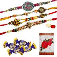 Flattering Collection of Four OM Rakhi N Four Chocolates with Roli and Tilak on Raksha Bandhan