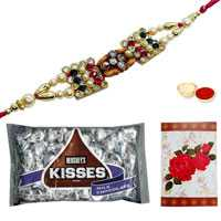 Magnificent Selection of One Om Rakhi N Hersheys Kisses Chocolates Pack (3 Oz.) with Roli and Tilak for Raksha Bandhan Celebration