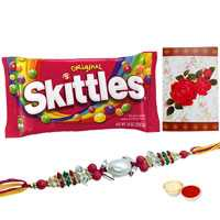 Remarkable Gift of One Ganesh Rakhi N Famous Skittles Chocolates Pack (3 Oz.) with Roli and Tilak for your Loving Brother on Rakhi