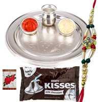Smashing Collection of Hersheys Kisses Chocolates Pack (3 Oz.) N Silver Plated Thali with One Rakhi, Roli and Tilak on Raksha Bandhan