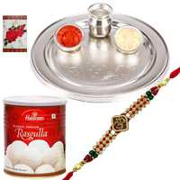 Sensational Selection of Haldirams Rasgulla N Silver Plated Thali with One Ganesh Rakhi, Roli and Tilak for Raksha Bandhan Celebration