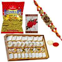 Appealing Gift of Assorted Sweets N Bhujia with One OM Rakhi, Roli and Tilak for your Loving Brother on Rakhi
