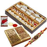 Charismatic Arrangement of Assorted Sweets N Assorted Dry Fruits with One Rakhi, Roli and Tilak for Rakhi Celebration