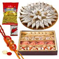 Elegant Collection of Kaju Katli, Assorted Sweets N Bhujia with Rakhi, Roli and Tilak on Raksha Bandhan
