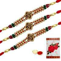 3 or More Designer Ethnic Rakhi  (Non Tracking) with Roli Tika