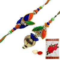 1 Bhaiya Bhabhi Rakhi with Roli Tika<br /><font color=#0000FF>Free Delivery in USA</font>