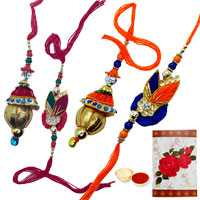 2 Bhaiya Bhabhi Rakhi with Roli Tika<br /><font color=#0000FF>Free Delivery in USA</font>