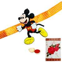 1 Mickey Mouse Rakhi with Roli Tika<br /><font color=#0000FF>Free Delivery in USA</font>