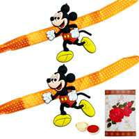 2 Mickey Mouse Rakhi with Roli Tika
