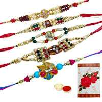 5 Assorted Ethnic Rakhi<br><font color=#0000FF>Free Delivery in USA</font>