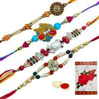 4 Designer Rakhi<br><font color=#0000FF>Free Delivery in USA</font>