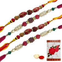 4 Divine Rudraksh Rakhi<br><font color=#0000FF>Free Delivery in USA</font>