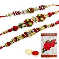 Propitious Collection of 3 Rakhi Set<br><font color=#0000FF>Free Delivery in USA</font>