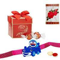 Kids Rakhi with 2 pc Lindt chocolate<br><font color=#0000FF>Free Delivery in USA</font>