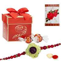 1 designer rakhi with 2pc Lindt chocolate<br><font color=#0000FF>Free Delivery in USA</font>